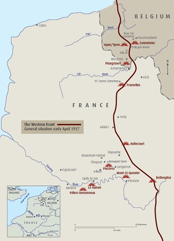 A map of the Australian Remembrance Trail along the Western Front