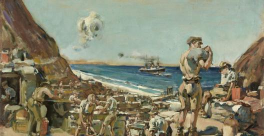 Depicts a supply station at Anzac Cove with several soldiers carrying stores. A semi clothed soldier in the foreground with a sandbag over his right shoulder. A warship in the far distance out to sea.